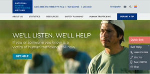 National Human Trafficking Hotline Homepage - Still frame