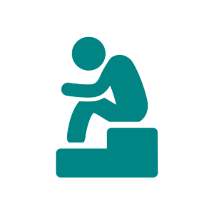 Icon of person sitting with head bowed