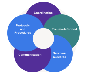 A diagram of the collaboration model with the words coordination, trauma-informed, survivor-centered, communication, and protocols and procedures