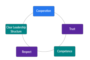 circular graph showing the collaboration model with the words cooperation, trust, competence, respect, and clear leadership structure