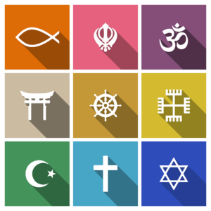 a grid of nine different religious symbols representing the major religions in the United States